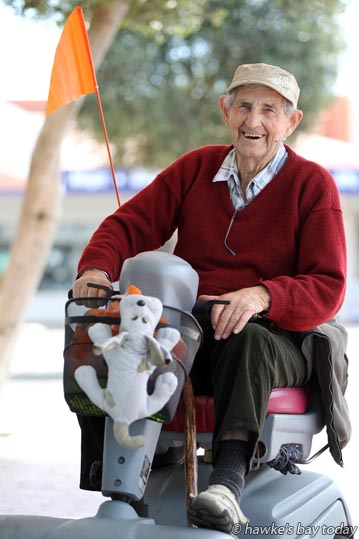 John, aged 86, on his mobility scooter in Heretaunga St West, Hastings, was rescued by truckies when he got stuck in the road. photograph