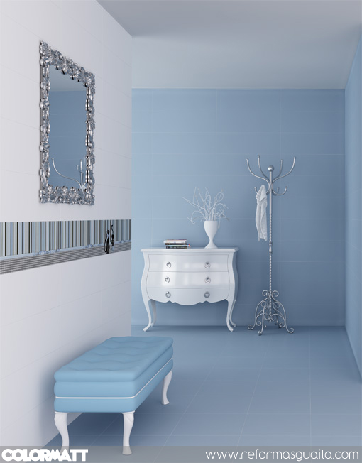 Mueble Baño Turquesa:Mueble de baño blanco con lavabo de cristal azul turquesa Mueble de