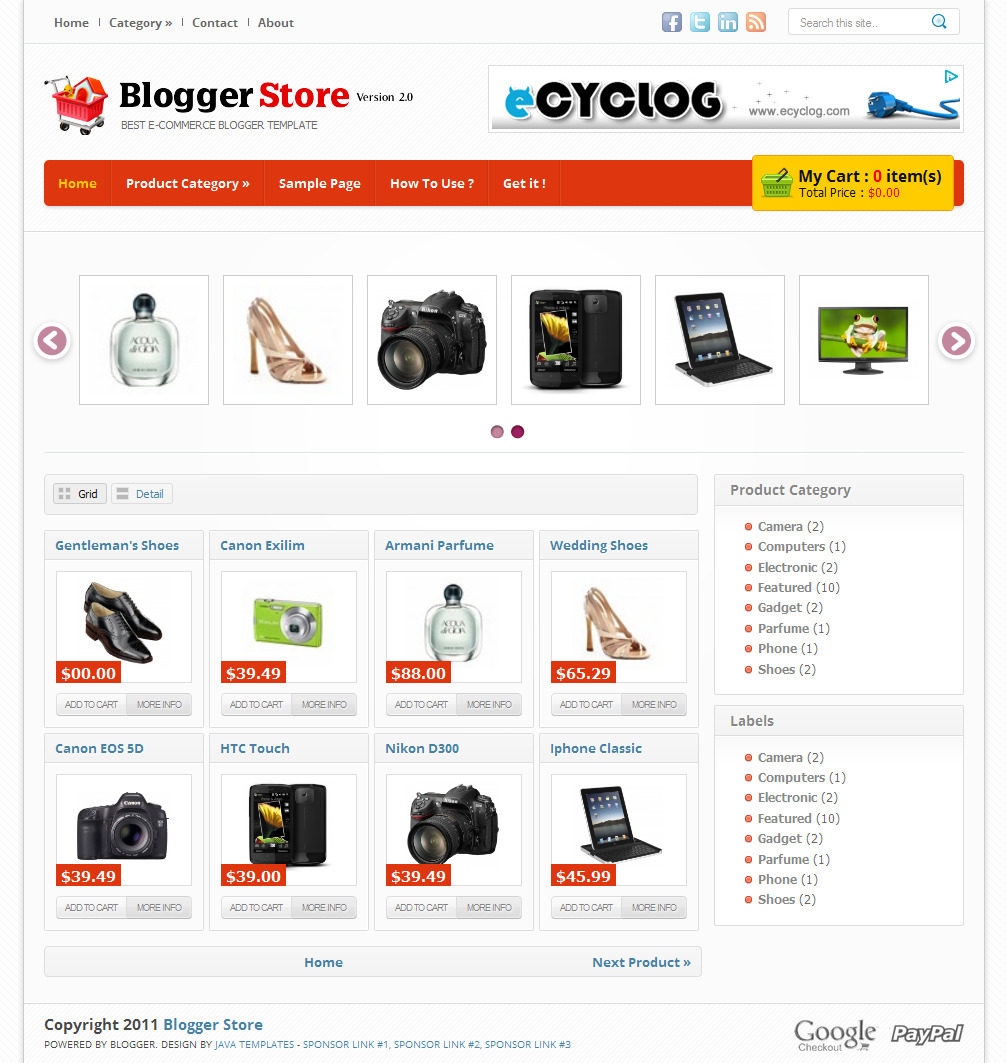 Blogger Store Template |Blogger Templates 2013