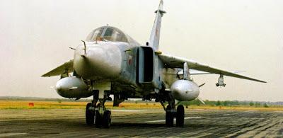 Серийный бомбардировщик Су 24.