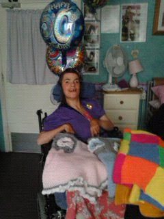 the lovely bernie on her 50th birthday , she loves her blankets ,(ashley house )