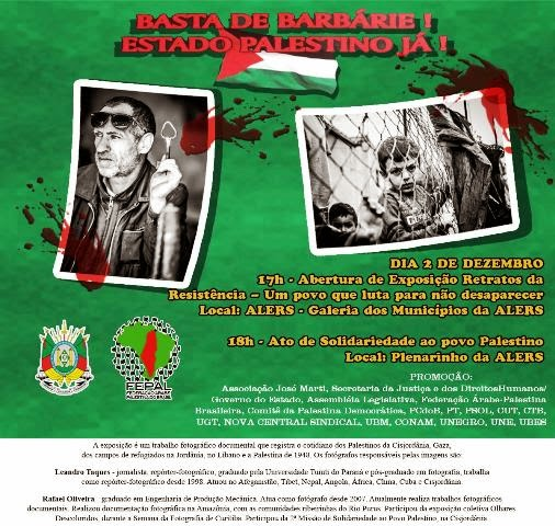 Rio Grande do Sul presta solidariedade ao povo palestino
