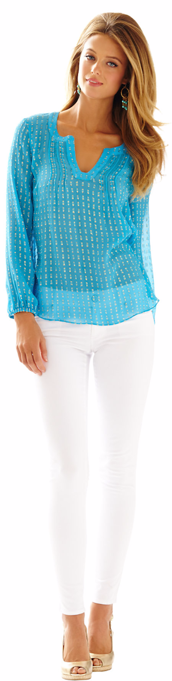 LILLY PULITZER COLBY SILK METALLIC DOT TOP BLUE