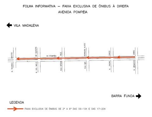 Croqui Faixa Exclusiva para ônibus na Avenida Pompeia