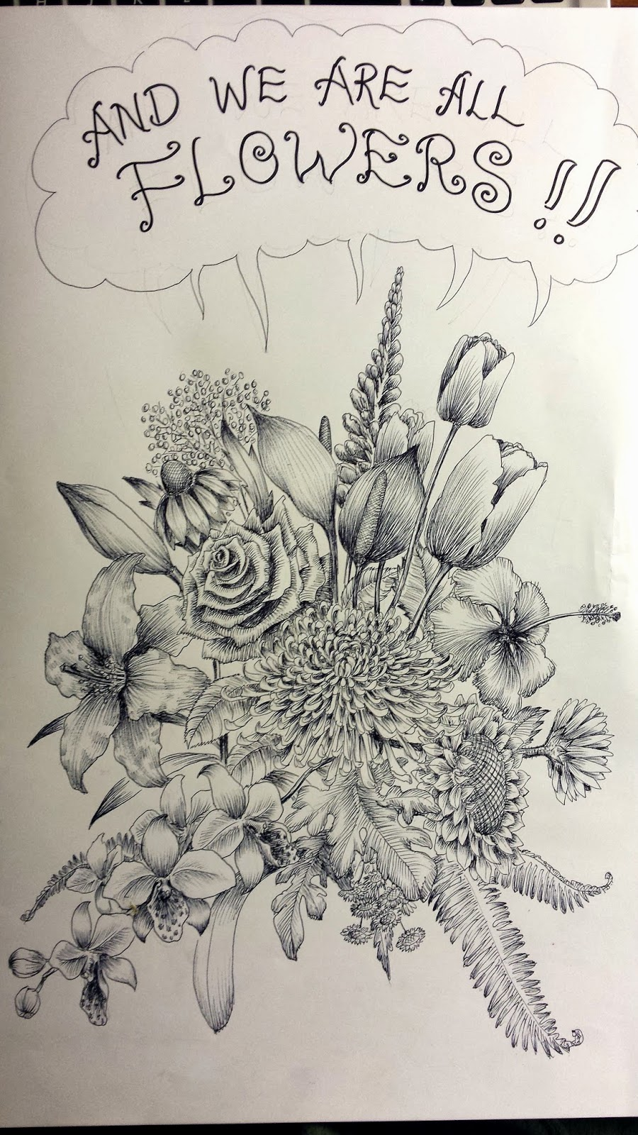 FLOWER POWER - A PEN DRAWING | THE ART OF HOE YEN TAM 浩然之藝, 浩然之氣