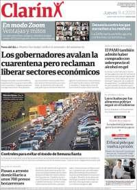 09/04/2020      ARGENTINA  UNA  PRIMERA PÁGINA DE LA PRENSA