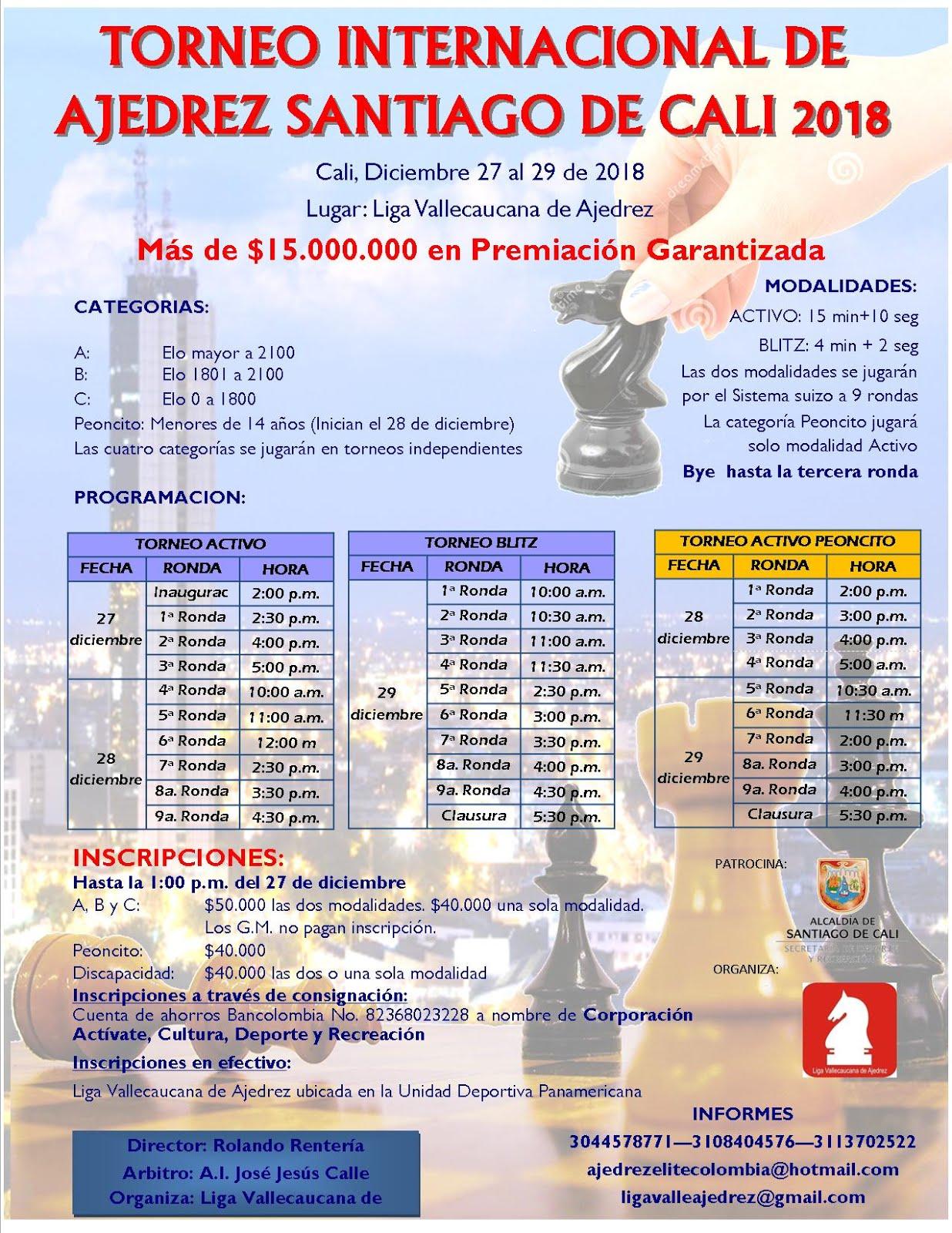 Torneo Internacional de Ajedrez Rapido y Blitz Santiago de Cali (Dar clic a la imagen)