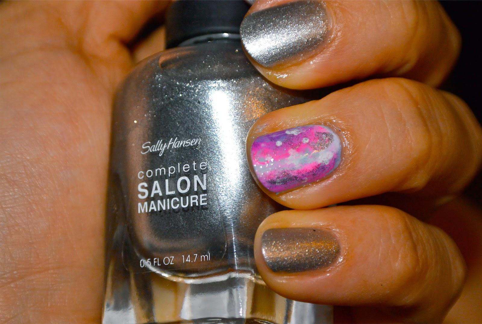 Silver galaxy manicure nail art