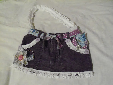 LIttle girls jean purse with blue and purple accent colors