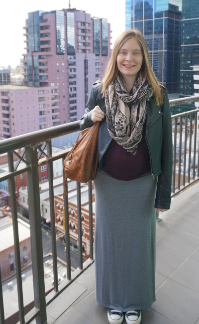 Away from blue   Second Trimester layered outfit paisley snood leather jacket burgundy tee grey maxi skirt