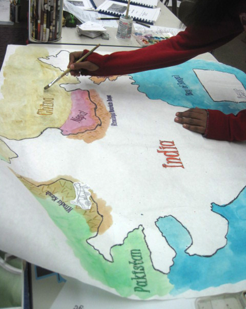History Students Paint Maps of India