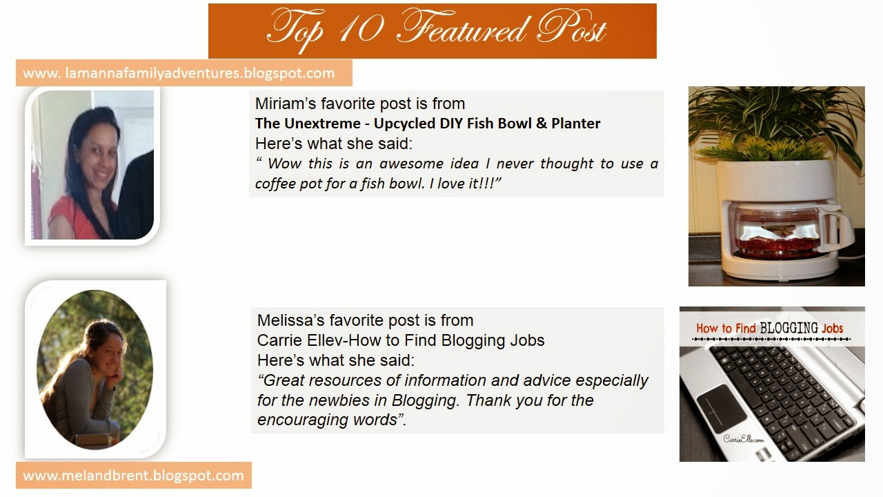Top 10 Post Features. Miriam picked Upcycled DIY Fish Bowl & Planter. Melissa picked How to find Blogging Jobs.
