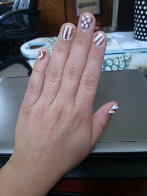 Gold & White Nail Art - Chevron, Polka Dot, Stripes
