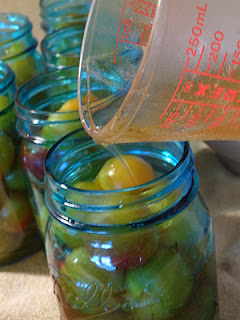 Pouring Honey Sauce into Jars of Plums