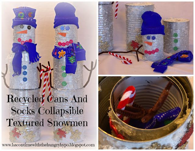 diy recycled cans and socks collapsible textured snowmen