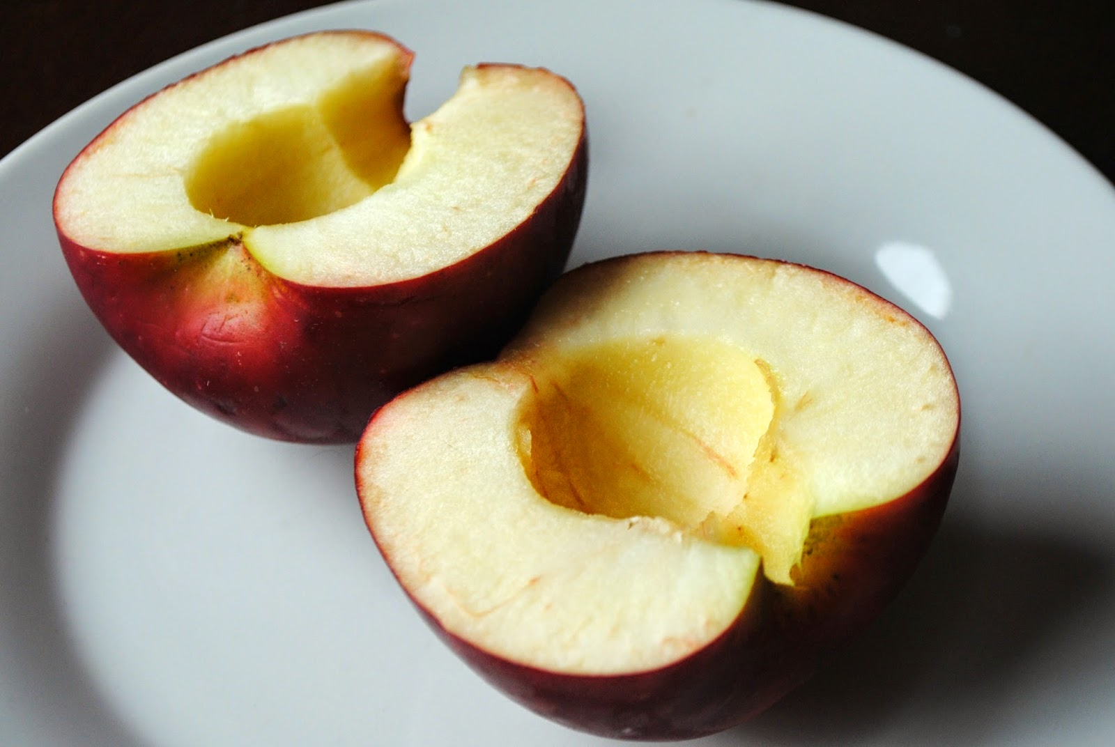 Cut apple in half & core