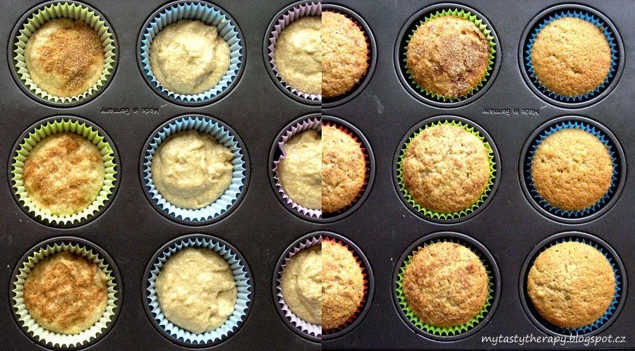 banoffee cupcakes - před a po upečení
