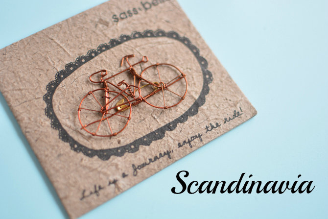 sass and belle accessories copper bike cute brooch