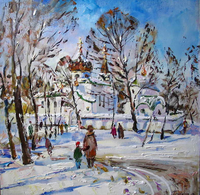 зима в живописи В. Пешкун