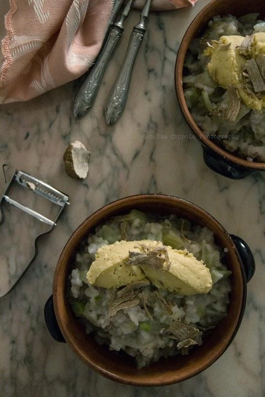 Risotto al finocchio con quenelle di ceci e scaglie di tartufo