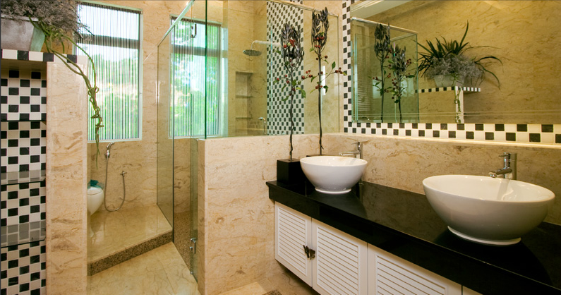 Bathroom With High Quality Marbles And Tiles