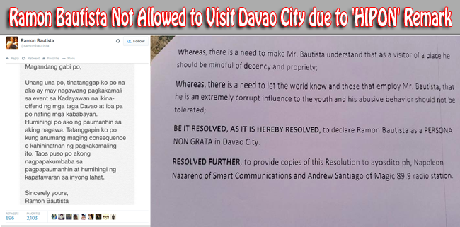 Ramon Bautista Not Allowed to Visit Davao City due to 'HIPON' Remark