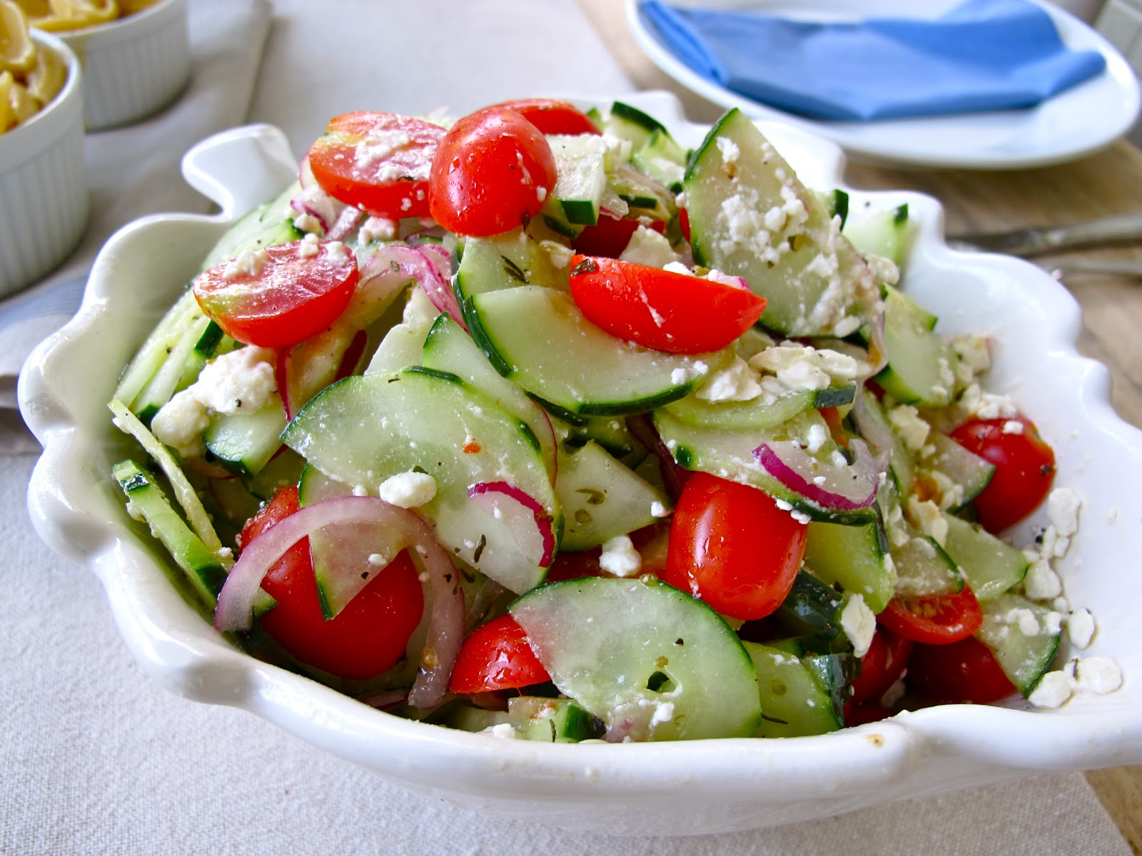 Cucumber Tomato & Feta Salad Recipe for 4th of July | 4th of Juy Pasta ...