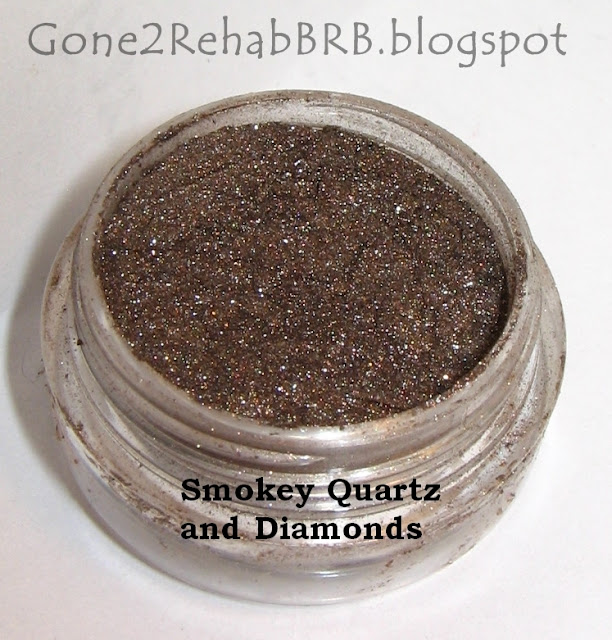 Sweetscents mineral eyeshadow swatches in shade Smokey Quartz and Diamonds