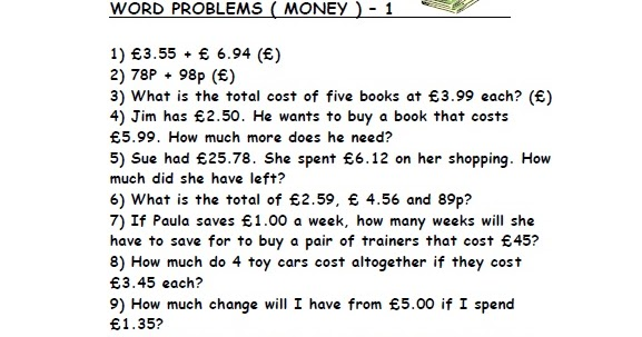 Fourth grade math word problems money