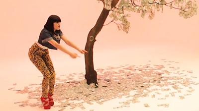 Jessie J, money-tree, filming Price Tag video, 2010.