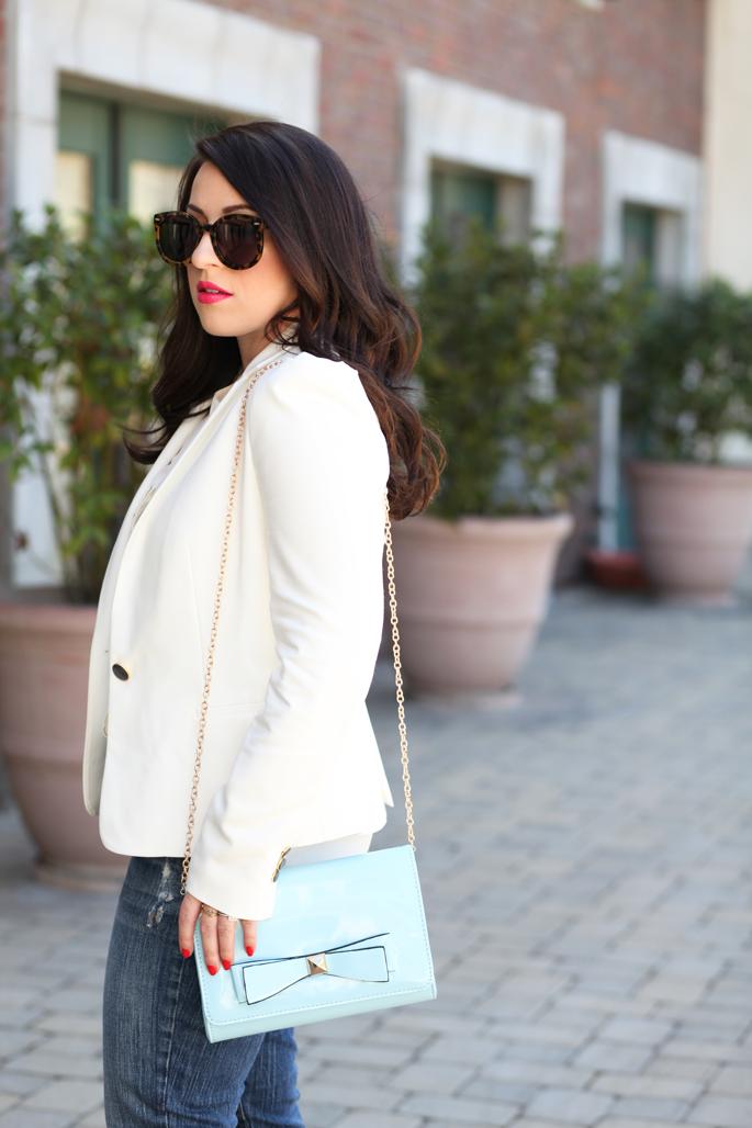 zara-white-blazer-blue-crossbody-chain-bow-bag-cutoff-denim-karen-walker-sunglasses-jcrew-white-button-up-zara-white-blazer-king-and-kind-spring-outfit-ideas