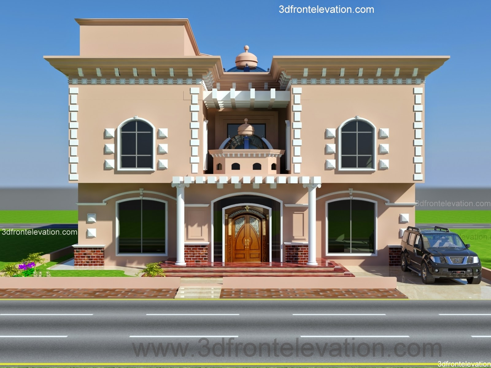 3d front arab front elevationhouse home