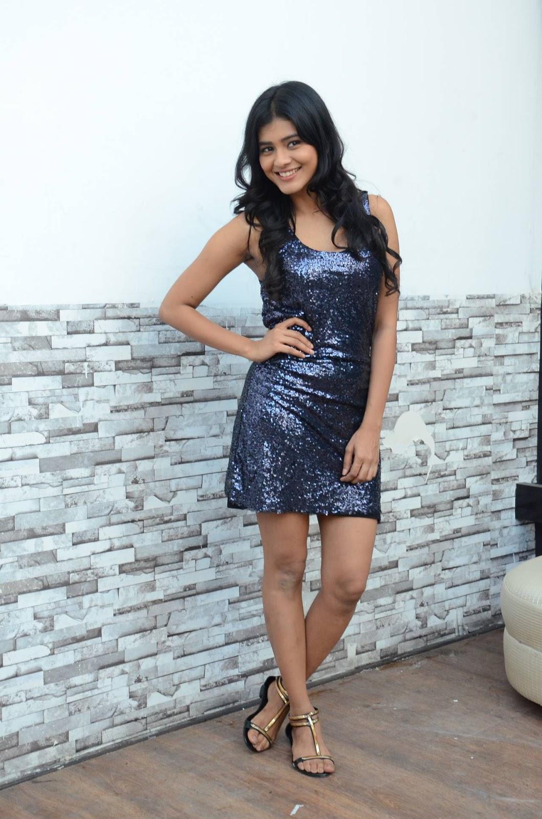 Hebah Patel Cute new actress in Shining Balck Mini Dress from movie Kumari 21f Press Meet