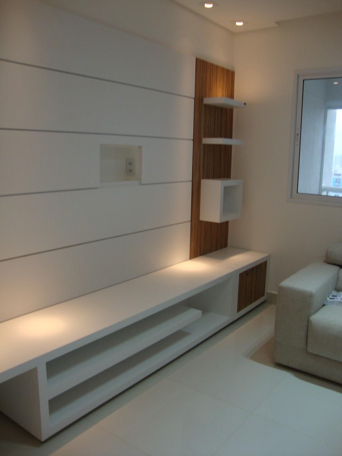 Rack Para Sala Pequena Branco ~ Rack aberto com painel branco e amadeirad