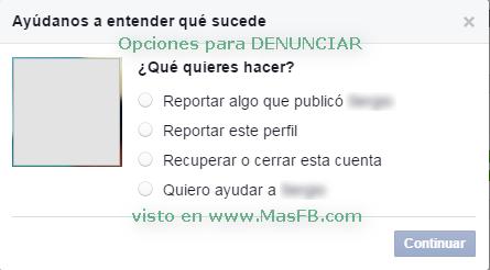 Opciones para denunciar perfil en Facebook - MasFB