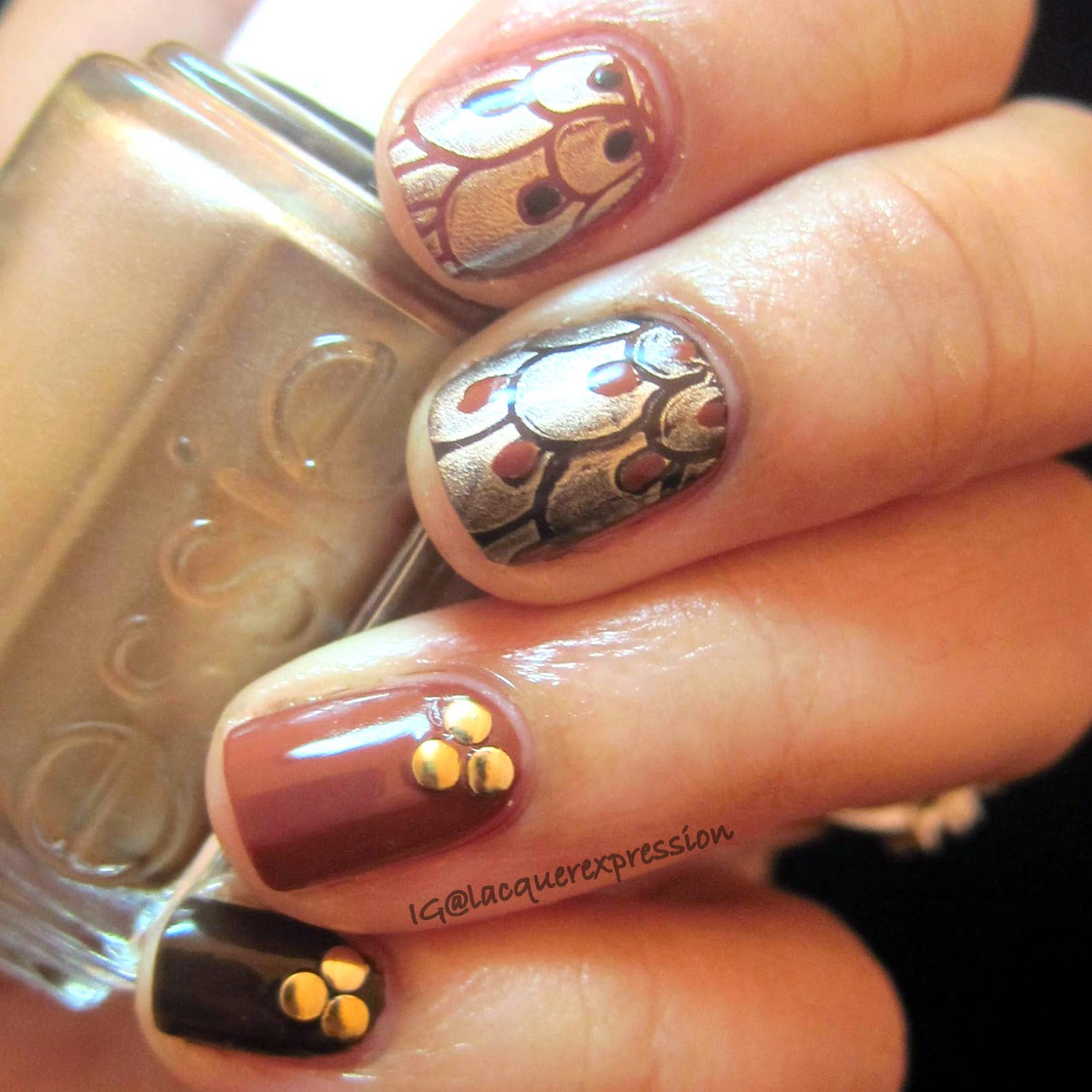 Thanksgiving Feathers nail art using Essie good as gold nail polish