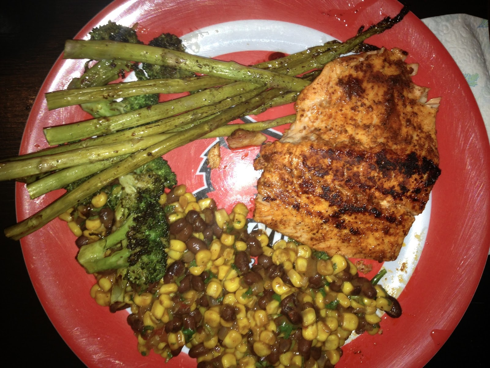 Smoky Spice Rubbed Grilled Salmon with Black Beans and Corn ...