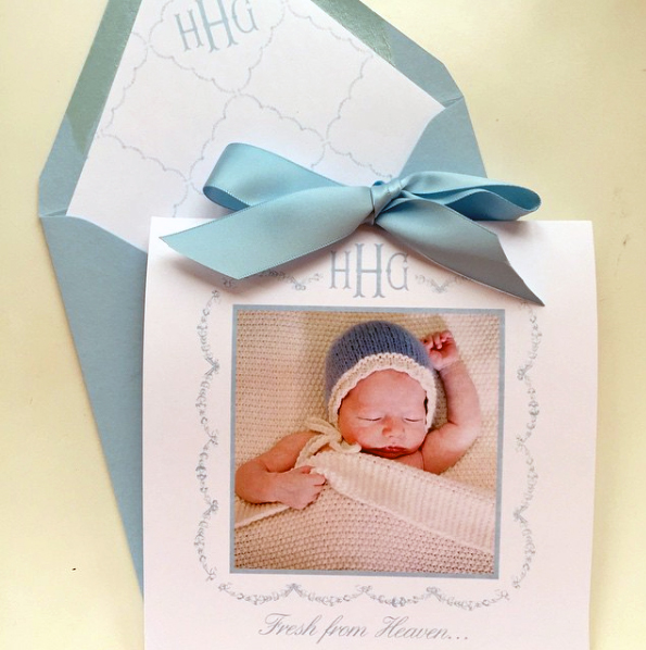 Monogrammed Custom Birth Announcement