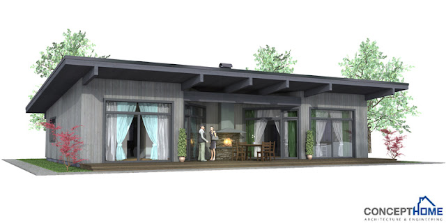 Contemporary house plans small modern house plan ch61 for Modern house plan 2012