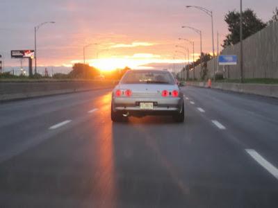 Silver Nissan Skyline GTR 1991 Sunset Drive