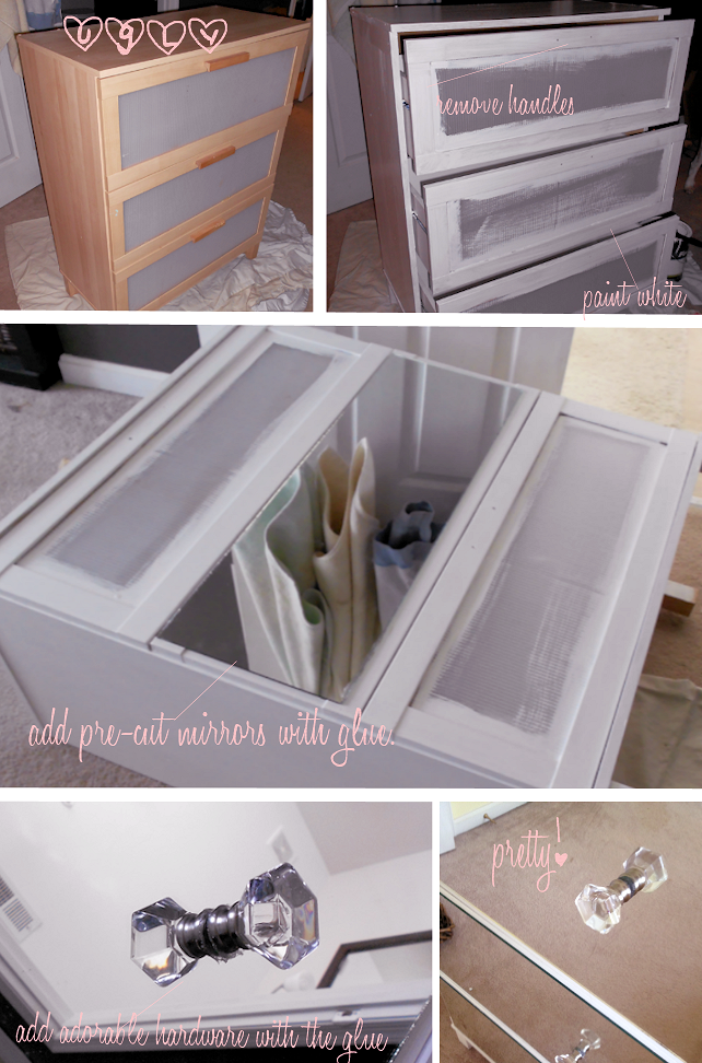 Gallery For > Diy Mirrored Dresser Drawers