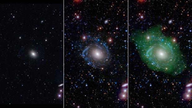 Galaxia gigante que crece al revés.