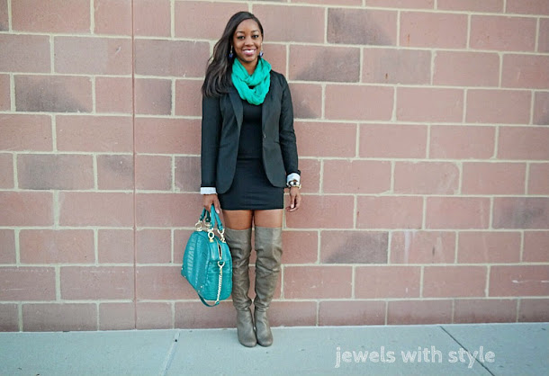 jewels with style, winter boots 2014, womens boots, otk boots, how to wear otk boots, over the knee boots, how to wear over the knee boots, otk boots outfit ideas, monica warren, black fashion blogger, how to wear a blazer, green hobo bag, green accessories, winter style idea, brown over the knee boots