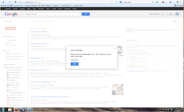 Screenshot from Google Reader