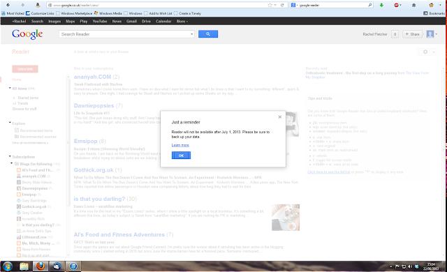 Screenshot from Google Reader