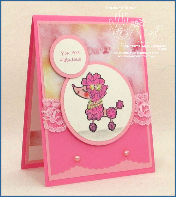 Picture of the front of my handmade pink poodle card facing right.