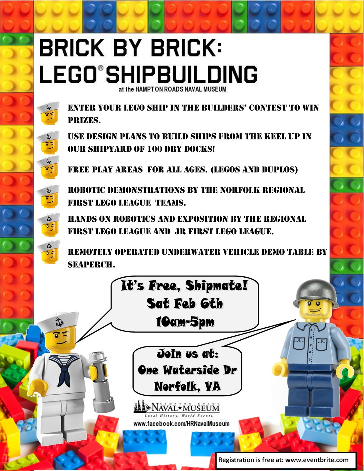 Legos For Free Hampton Roads Naval Museum The 5th Annual Brick By Brick Lego
