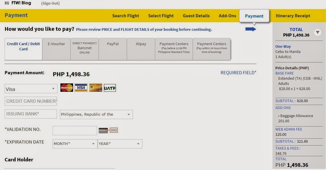 FTW! Blog, How to, Book Cebu Pacific Tickets online, Cebu Pacific