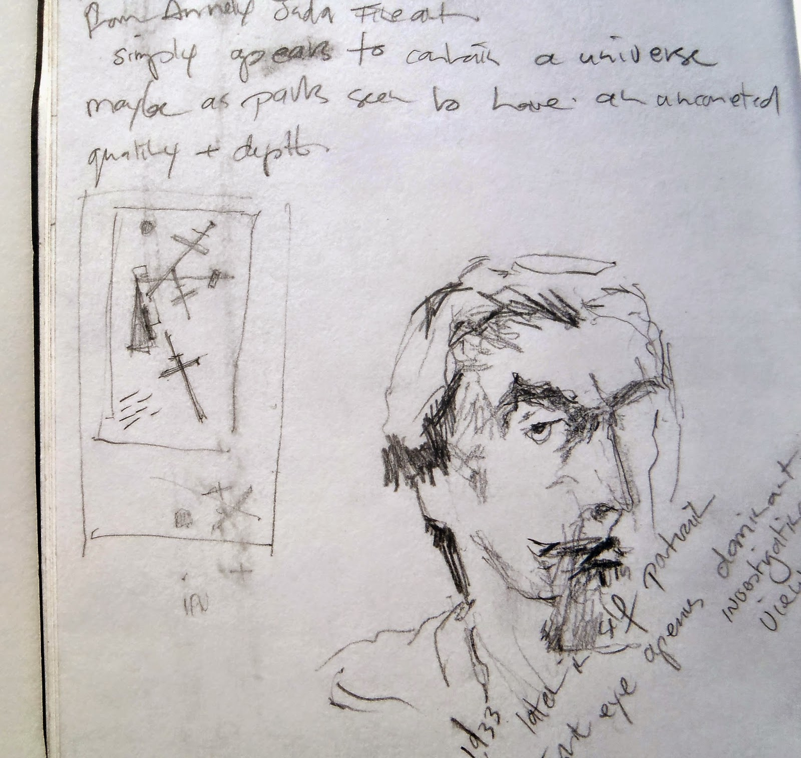Suprematist Composition and Self-Portrait pencil on paper 2014