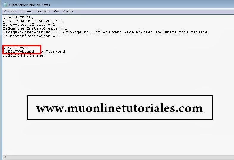 Configurando usuario y password en la edataserver